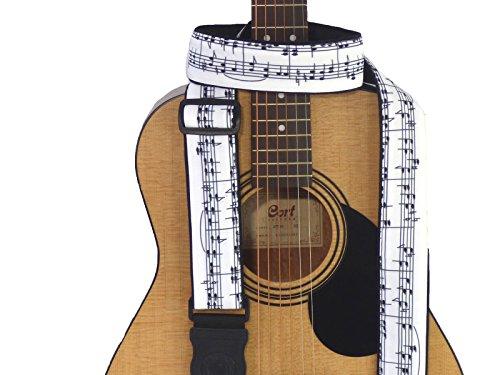 Correa de guitarra con notas musicales, color blanco y negro, accesorio de guitarra hecho a mano para todo tipo de guitarras, terminaciones de cuero genio alemán, tela duradera. Código 00312