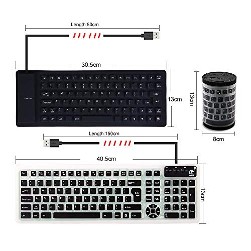 CHINFAI Portable Wired USB Keyboard Silicone Silent Waterproof Keyboards for Computer Laptop PC, Black