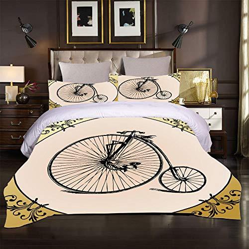 uego de Cama de 3 Piezas, Moderna Funda de edredón de Microfibra Suave y Transpirable Bicicleta Retro, Estilo clásico Que Incluye 1 Funda de edredón 220x230 + 2 Fundas de Almohada 50x75cm