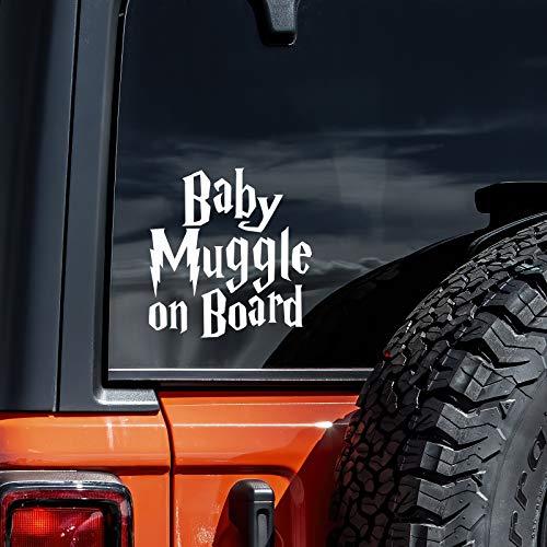 "Vool Baby Muggle On Board Decal Vinyl Sticker Cars Trucks Vans Walls Laptop| White 5.5"""