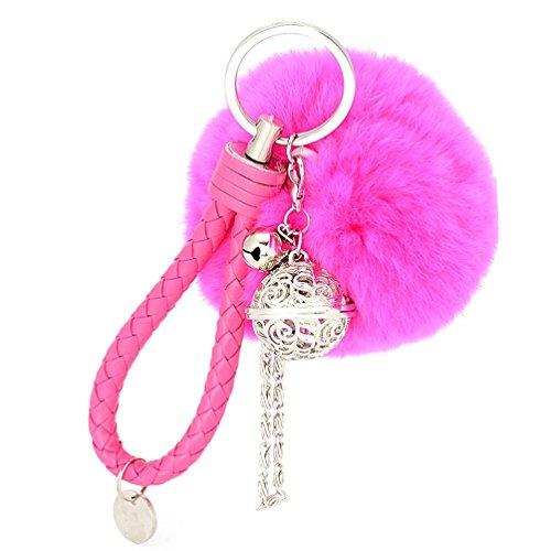 Ularma Elegant Plüsch Ball Schlüsselanhänger Weich Keychain Handtaschenanhänger Dekor (hot pink)