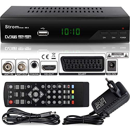 hd-line Strom 505 A DVBT-2 Receiver Full HD 1080P 4K ( HEVC/H.265 HDMI SCART, USB 2.0), DVBT2 Receiver, DVB-T2 Receiver, DVB T2 Reciver HD Receiver, TV Receiver, DVBT 2 Resiver, Empfänger Schwarz
