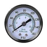 Misuratore di pressione pneumatico e idraulico a doppia scala, 40 mm di diametro, 0-160 psi/0-10 bar, manometro, misuratore di pressione per gas, acqua, olio, piezometro, 1/8', NPT in ottone interno