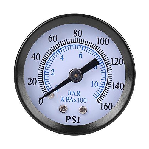 40mm Dia 0-160psi / 0-10bar Echelle Pneumatique Double manomètre de Pression d'huile d'eau de gaz Manomètre tout usage Hydraulique Testeur Piézomètre 1/8\