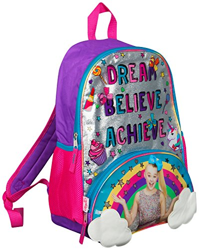 JoJo Siwa Bow Rugzak Rugzak Sholder Bag Grote Poket Print Rugzak Rainbow, Clouds en Glitter Details Perfecte school-, feest- of danstas