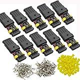 DONJON Conector eléctrico Impermeable kits, Coche Impermeable Rápido Enchufe 4 Pin, Enchufe de Terminal con Cable 16 AWG, para automóvil, Motocicleta, camión, Barco (10 sets)