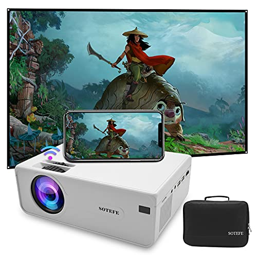 SOTEFE Mini LED Projector Portable 6000 Lumens-WiFi Video Projectors 1080P Full HD for iPhone Samsung Smartphone Wireless Projector HDMI 55000 Hours Multimedia Home Projector Office Theater Movie