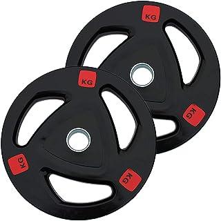 Olympische Barbell Rubber Disc 3 Hole Draagbare Gewichtheffen Plaat 1 Paar Barbell Gewichten, 50mm Gat Diameter