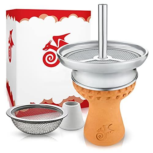 Little Dragon® Shisha Kopf Set - Hitzeoptimierter Handmade Voll-Tonkopf für dichten Rauch inkl. Kaminaufsatz + Shisha Sieb & Dichtung - Einfacher Kopfbau für intensiven Geschmack -...