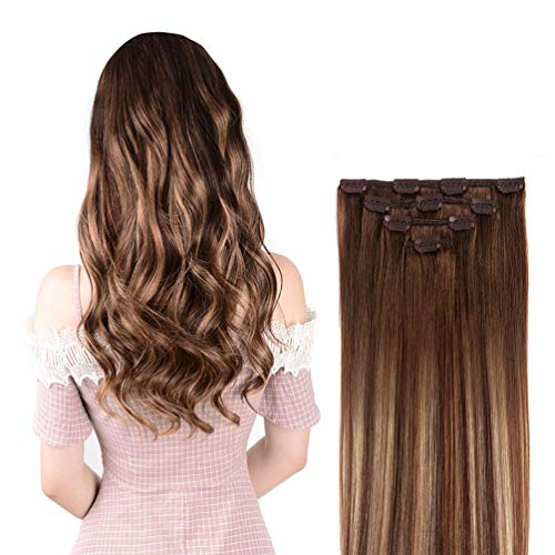 12' Hair Extensions Balayage Clip in Human Hair for Women - Silky Straight Chocolate Brown to Honey Blonde Highlight Brown Ombre Hair 50grams 4pieces #(4T27) P4 Color