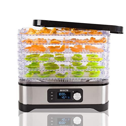 déshydrateur alimentaire,Déshydrateur Bellelife avec régulateur de température, déshydrateur avec 6 étagères, 400W, 35-70 ° C, minuterie 24h, déshydrateur, nourriture, viande, légumes