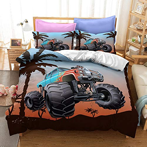 AQEWXBB Juego de ropa de cama con impresión digital 3D, diseño de monstruos, off-road, lucha contra el barro, suave y cómodo, juegos de funda nórdica (camión 3,200 x 200 cm + 80 x 80 cm x 2).