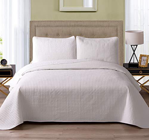 Exclusivo Mezcla 3-Piece Microfiber Queen Size Quilt Set Lightweight Bedspread Coverlet Set, White, 92'x88'