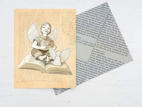 Karte, für Buchliebhaber, Glückwunschkarte für Literatur Begeisterte, Schutzengel für Leseratten,