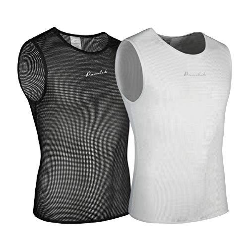 Przewalski Men's Sleeveless Cycling Undershirt Quick Dry Bike Base Layer Vests Breathable Bicycle Jerseys Biking Tank Tops