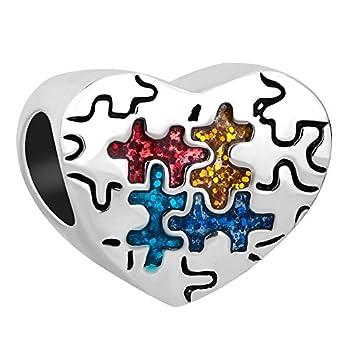 Pandöra Autism Awareness Puzzle Piece Heart Charm Beads For Charm Bracelets