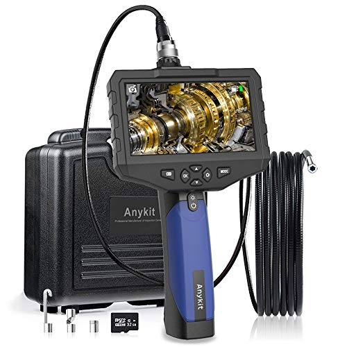 Anykit Handheld-Endoskop, HD Wasserdichtes Endoskopkamera mit 4,5 Zoll-IPS-Farbdisplay, Sonde für Industrie Inspektionskamera mit 6 einstellbaren LED-Leuchten, 32G-Speicherkarte (9.8ft)