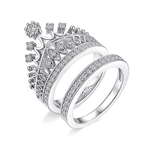 Jewelgenics Stainless Steel Queen Crown Pattern Comfort Fit Ring for Women and Girls (Silver)