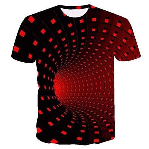 NEWISTAR Unisex Jugend 3D Druck Grafik Casual Kurzarm T-Shirt , Rot, S