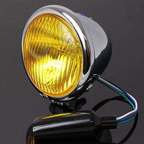 JILLS PRODUCTS 4.5インチ ベーツライト イエローレンズ メッキケース スティード シャドウ FTR223 GB250 ...