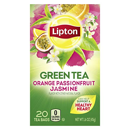 Lipton Green Tea Bags Flavored with Other Natural Flavors Orange Passionfruit Jasmine Can Help Support a Healthy Heart 1.13 oz 20 Count, Pack of 6