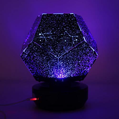 Jacksking Proyector de luz Nocturna, lámpara de proyección de rotación de luz de Cielo Estrellado Colorido Decoración de Fiesta de cumpleaños con alimentación USB Regalos de San Valentín(Azul)