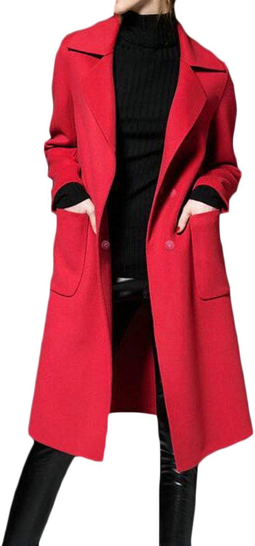 PandapangCA Women's Outwear Wool Blend Fall Winter Trench Coat Belted Solid Pea Coat