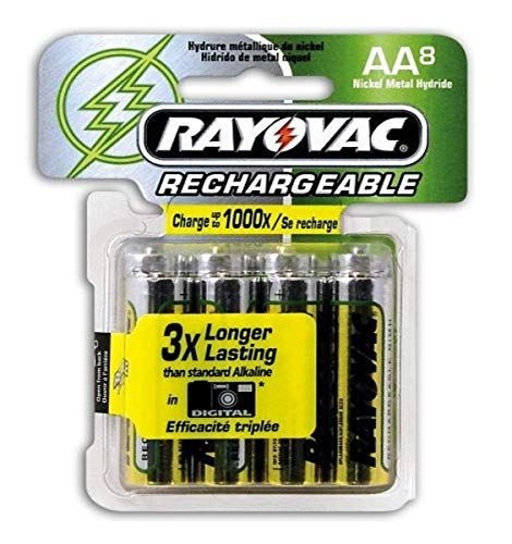 Rayovac NM715-8 Rechargeable NiMH AA Batteries, 8-Count Package