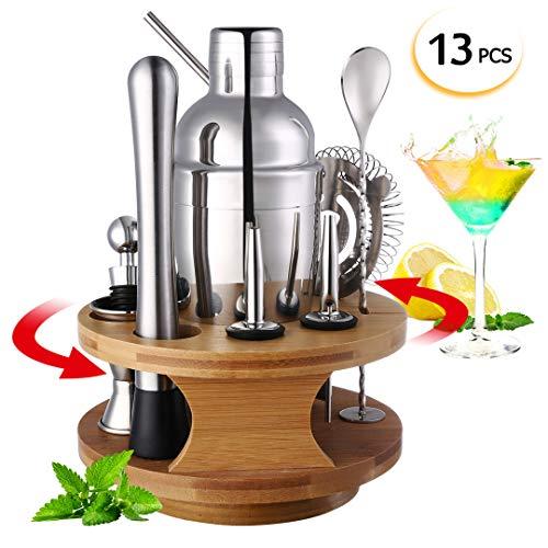 Lanseyqo Cocktail-Shaker-/Mixer-Set mit drehbarem Bambus-Ständer, Edelstahl-Barkeeper-Set für Zuhause, Küche, Bar, 13-teilig 13 Stück
