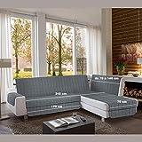 la biancheria di casa Simplicity Plus Angle Copri Salva Divano per divani ad Angolo (245 cm, Grigio Scuro)