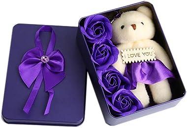 Rose Flower Gift Box Wedding Gift Tinplate Box Square 4 Flowers Plus Bear Soap (Purple)