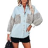 PDYLZWZY Blusa de manga larga para mujer, patchwork, leopardo, botones, camisa de manga larga, estilo casual, holgada, azul claro, XL
