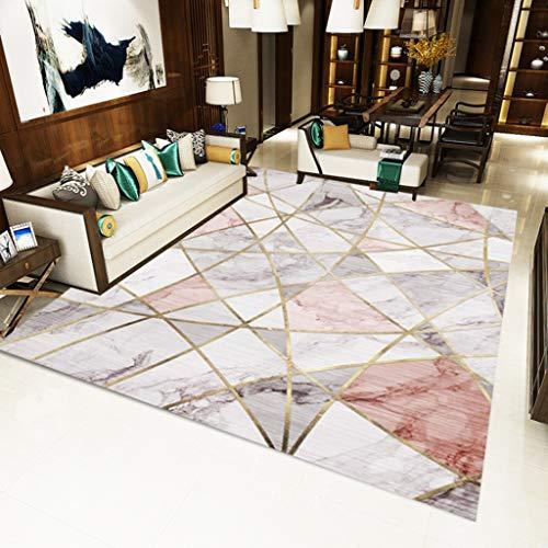 XQAQ modern minimalistisch tapijt voor woonkamer, tapijt in Noordse stijl met geometrische patronen, tapijt voor vloerbedekking en antislip 40*60CM B