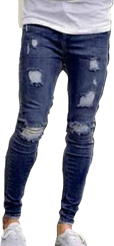 Juleya Hombre Vaqueros Rotos Rectos Pantalon Mezclilla Con Cremallera Skinny Slim Fit Rasgado Pantalones Vaqueros Azul Oscuro Azul Claro S 4xl Amazon Es Ropa Y Accesorios