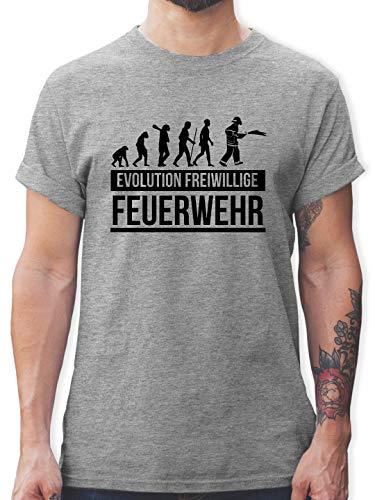 Feuerwehr - Evolution freiwillige Feuerwehr - L - Grau meliert - t Shirt Kaffee Spruch - L190 - Tshirt Herren und Männer T-Shirts