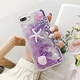 Miagon Liquid Quicksand Case for Samsung Galaxy Note 10 Plus,Glitter Floating Sparkle Bling Transparent 3D Cute Case,Starfish Purple
