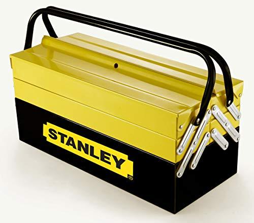 Stanley Werkzeugbox / Werkzeugkoffer CantiLever (21x21x45cm, mit Klemmschutz für Werkzeuge und Zubehör, Box mit vollständig zugänglichen Fächern, stabiler Koffer mit Bohrloch) 1-94-738