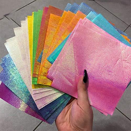 Origami Papel 50pcs plaza de Origami del brillo del arte del metal Dies plantillas for tarjetas de álbum de recortes álbum de grabación en relieve de papel de bricolaje Artística y Hobby Papel-7x7cm P