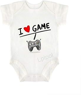 Lplpol, I Love Game Joystick Corazón Bebé Algodón Orgánico Manga Corta Mameluco Bebé Mameluco para Niños Niñas SDS891
