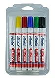 Markal 31200120SL.100rotuladores, Kit 6colores, punta redonda de 2?4mm, blanco/amarillo/rojo/azul/verde/negro (Pack de 6)