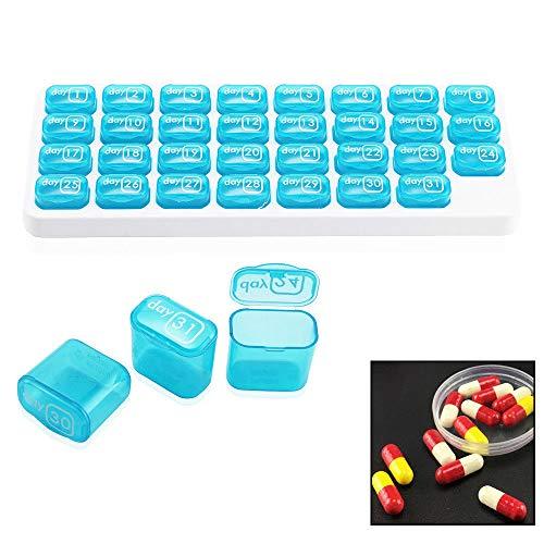 Alwayswe - Pastillero de 31 días de almacenamiento, organizador de pastillas mensuales, dispensador de medicamentos para tableta
