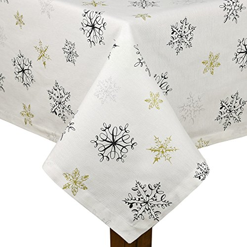 Kate Spade Holiday Snowflakes Tablecloth 60 x 84 100% Cotton
