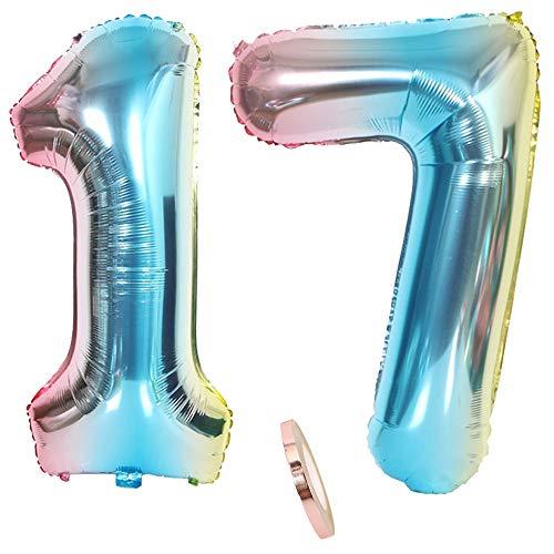 2 Luftballons Zahl 17, Nummer Luftballon Regenbogen Mädchen jungen,32
