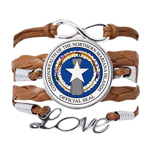 DIYthinker Bracelete com emblema nacional das Ilhas Marianas do Norte com corrente de amor para presente