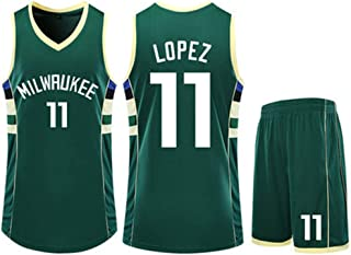 Jersey Suit Milwaukee Bucks 11# Brook Lopez Basketball Uniform Sleeveless Vest Sports Shorts Men's Fitness Clothing Competition Casual Suit,Green,2XS