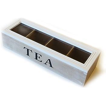 Caja de té de 4 compartimentos 34 x 11 x 8 cm | Caja para guardar bolsitas de té: Amazon.es: Hogar