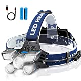Rechargeable Headlamp,21 LED Headlamps,Headlight 10000 Lumen,Head Flashlight with 9 Modes,Waterproof Headlamps for Adults,Outdoor,Camping, Cycling, Hunting