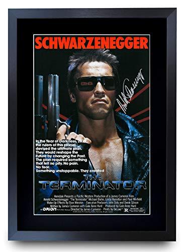 HWC Trading Terminator A3 Gerahmte Signiert Gedruckt Autogramme Bild Druck-Fotoanzeige Geschenk Für Arnold Schwarzenegger Filmfans