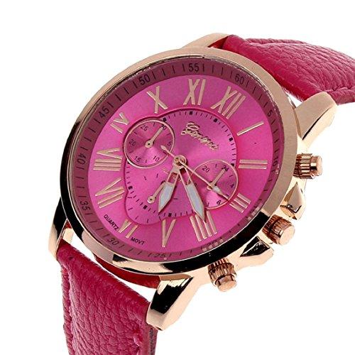 Bocideal (TM) 1pc Fashion Geneva Números Romanos de piel analógico de cuarzo mujeres reloj de pulsera rosa