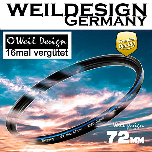 Filter UV slim 72mm XMC Digital Weil Design Germany - SYOOP - * Objektivschutz * blockt ultraviolettes Licht * mit Frontgewinde * 16 fach vergütet XMC * inkl. Filterbox  (UV Filter 72mm)